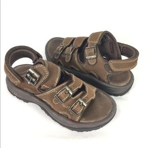 MERRELL | brown nubuck 3 strap sandals 8
